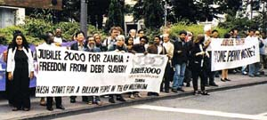 A 'Jubilee South' demonstration on June 18, 1999, in Cologne, Germany, site of the G-7 summit meeting of the leaders of the world's largest richest nations. Credit: Sara Stratton/Canadian Ecumenical Jubilee Initiative