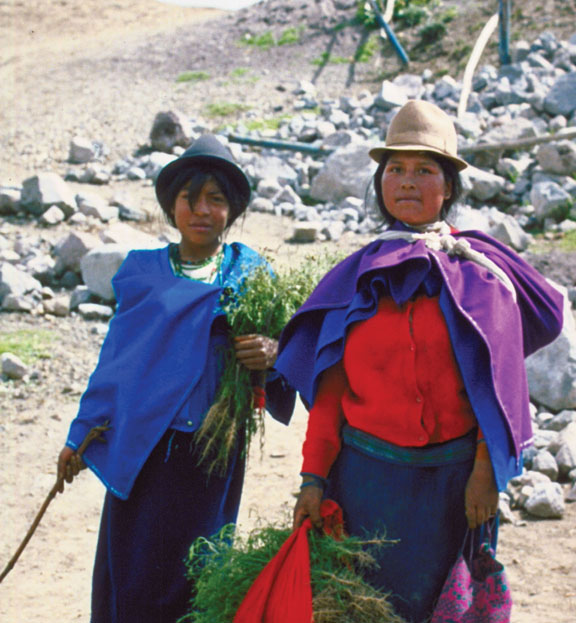 Indigenous woman and her children, villagers of the Andes mountains, Chimborazo Province, Ecuador.
